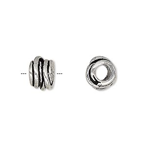 bead, antique silver-plated brass, 10.5x7mm tube with overlapping rings and 4.5mm hole. sold per pkg of 4.