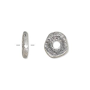 bead, antique silver-plated brass, 13x2mm freeform rondelle with 3.5mm hole. sold per pkg of 2.