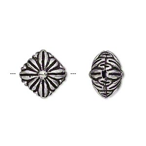 bead, antique silver-plated brass, 14x14mm puffed diamond with flower. sold per pkg of 2.