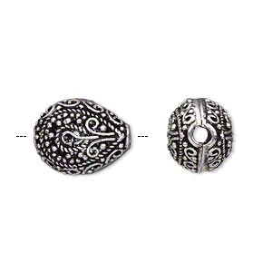 bead, antique silver-plated brass, 16x13mm filigree fancy puffed teardrop, 2.5mm hole. sold per pkg of 2.