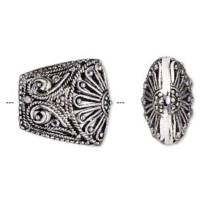 bead, antique silver-plated brass, 20x19mm fancy filigree puffed trapezoid. sold per pkg of 2.