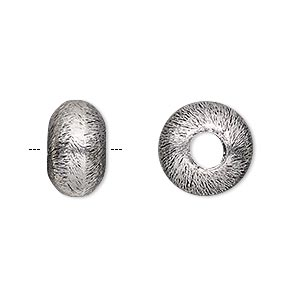 bead, antique silver-plated copper, 14x8mm brushed rondelle with 5mm hole. sold per pkg of 4.