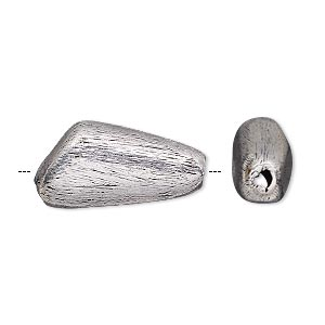 bead, antique silver-plated copper, 22x18x12mm brushed flat freeform triangle. sold per pkg of 4.