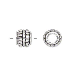 bead, antique silver-plated pewter (tin-based alloy), 10x9mm rondelle with center rim and rectangles, 5mm hole. sold individually.