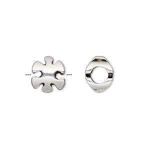 bead, antique silver-plated pewter (tin-based alloy), 11x10mm double-sided puzzle piece, 5mm hole. sold individually.