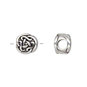 bead, antique silver-plated pewter (tin-based alloy), 11x10mm double-sided rounded celtic knot, 5mm hole. sold individually.