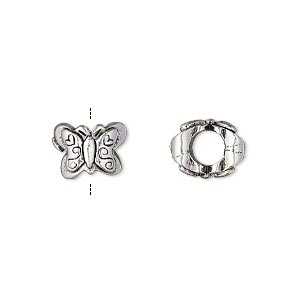 bead, antique silver-plated pewter (tin-based alloy), 11x9mm double-sided butterfly, 5mm hole. sold individually.