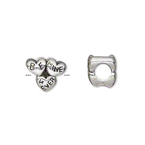 bead, antique silver-plated pewter (tin-based alloy), 12x9mm double-sided hearts with be mine 4 ever, 5mm hole. sold individually.