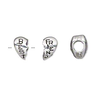 bead, antique silver-plated pewter (tin-based alloy), 13x10mm double-sided whole heart with best and friend, 5mm hole. sold per 2-piece set.