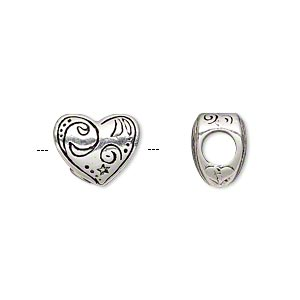 bead, antique silver-plated pewter (tin-based alloy), 13x11mm double-sided heart with design, 5mm hole. sold individually.
