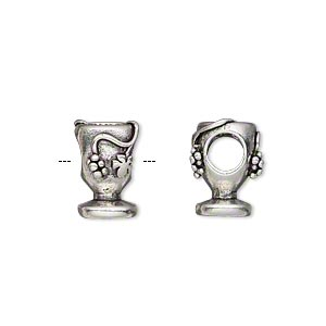 bead, antique silver-plated pewter (tin-based alloy), 13x8mm double-sided chalice with grapes, 5mm hole. sold individually.
