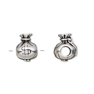 bead, antique silver-plated pewter (tin-based alloy), 13x9mm double-sided money bag, 5mm hole. sold individually.
