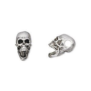 bead, antique silver-plated pewter (tin-based alloy), 14x10mm skull with 3.5mm hole. sold per pkg of 2.