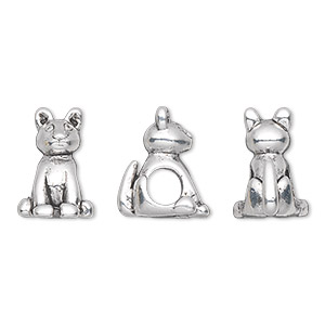 bead, antique silver-plated pewter (tin-based alloy), 15x10mm sitting cat, 5mm hole. sold individually.