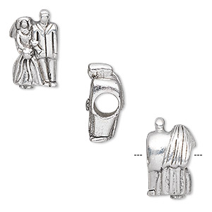 bead, antique silver-plated pewter (tin-based alloy), 17x10mm bride and groom, 5mm hole. sold individually.