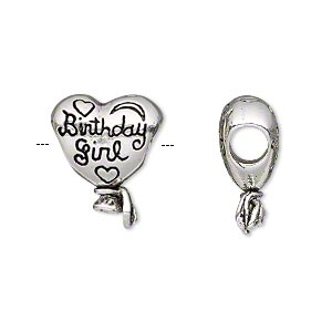 bead, antique silver-plated pewter (tin-based alloy), 18x15mm double-sided heart balloon with birthday girl, 5mm hole. sold individually.
