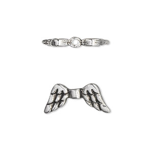 bead, antique silver-plated pewter (tin-based alloy), 20x9mm double-sided angel wings. sold per pkg of 2.
