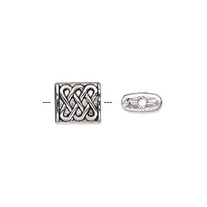 bead, antique silver-plated pewter (zinc-based alloy), 10x8mm double-sided rectangle with celtic weave. sold per pkg of 20.