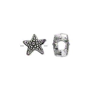 bead, antique silver-plated pewter (zinc-based alloy), 11x8mm double-sided beaded star with 4.5mm hole. sold per pkg of 500.