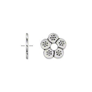 bead, antique silver-plated pewter (zinc-based alloy), 12x1mm double-sided flower rondelle with 3mm hole. sold per pkg of 50.
