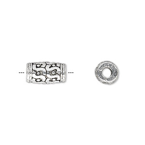 bead, antique silver-plated pewter (zinc-based alloy), 12x7mm round tube with s pattern and 3mm hole. sold per pkg of 10.