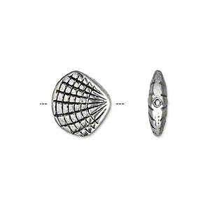 bead, antique silver-plated pewter (zinc-based alloy), 14x12mm double-sided shell. sold per pkg of 10.