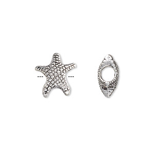 bead, antique silver-plated pewter (zinc-based alloy), 14x12mm starfish with 4mm hole. sold per pkg of 6.