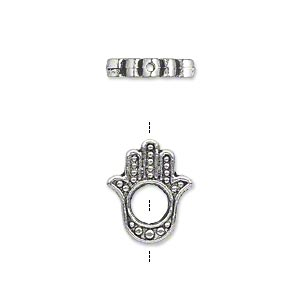 bead, antique silver-plated pewter (zinc-based alloy), 15x13mm double-sided fatima hand, 5mm hole. sold per pkg of 20.