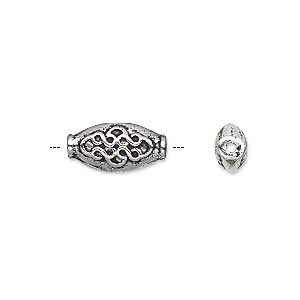 bead, antique silver-plated pewter (zinc-based alloy), 15x7mm double-sided flat oval. sold per pkg of 20.