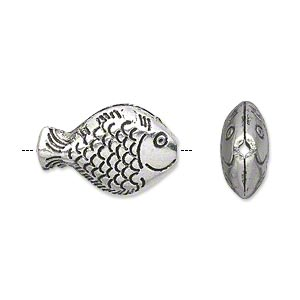 bead, antique silver-plated pewter (zinc-based alloy), 20x14mm double-sided hollow fish. sold per pkg of 10.