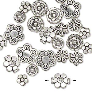 bead, antique silver-plated pewter (zinc-based alloy), 5x5mm-10x10mm assorted flower. sold per pkg of 24.