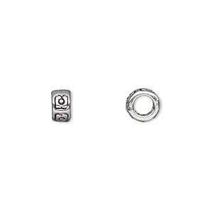 bead, antique silver-plated pewter (zinc-based alloy), 7x4mm double-sided heishi with 4mm hole. sold per pkg of 500.