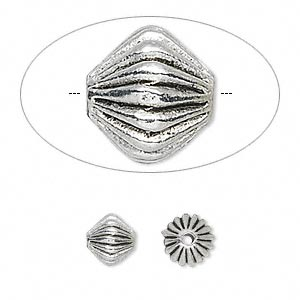 bead, antique silver-plated pewter (zinc-based alloy), 7x7mm corrugated bicone. sold per pkg of 20.
