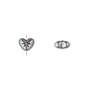 bead, antique silver-plated pewter (zinc-based alloy), 8x6mm double-sided heart with flower. sold per pkg of 500.