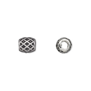 bead, antique silver-plated pewter (zinc-based alloy), 8x7mm barrel, 4mm hole. sold per pkg of 20.