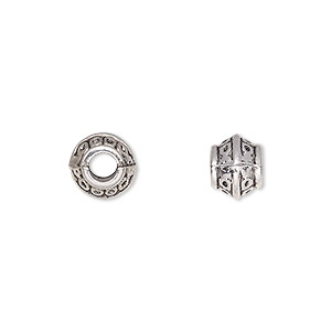 bead, antique silver-plated pewter (zinc-based alloy), 8x7mm rondelle, 4mm hole. sold per pkg of 20.