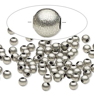 bead, antique silver-plated steel, 4mm round. sold per pkg of 500.