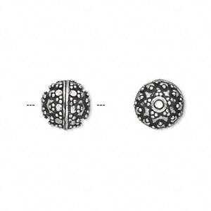 bead, antique silver-plated white brass, 10mm fancy round with dot accents. sold per pkg of 4.