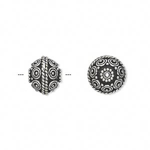 bead, antique silver-plated white brass, 10mm fancy round with dot/braid/circle design. sold per pkg of 4.