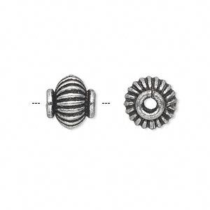 bead, antique silver-plated white brass, 11x10mm corrugated rimmed rondelle with 3mm hole. sold per pkg of 4.