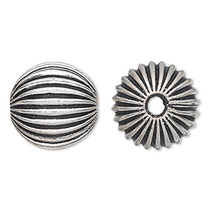bead, antique silver-plated white brass, 19mm corrugated round with 3.5mm hole. sold per pkg of 2.