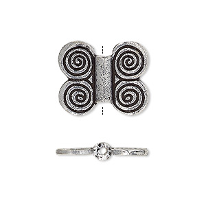 bead, antique silver-plated white brass, 19x16mm double-sided butterfly. sold per pkg of 2.