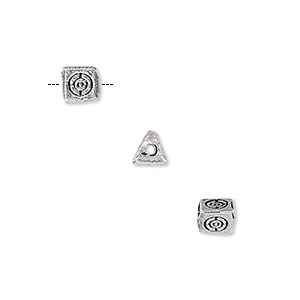 bead, antique silver-plated white brass, 5x5mm double-sided triangle rondelle with circle design. sold per pkg of 8.