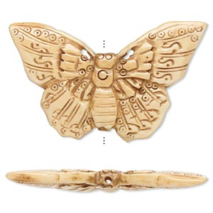 bead, antiqued bone, 56x35mm double-sided butterfly. sold individually.