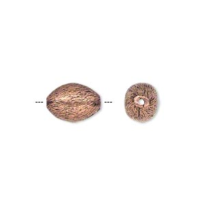 bead, antiqued copper, 12x8mm brushed oval. sold per pkg of 16.