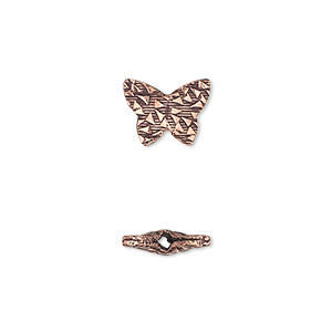 bead, antiqued copper, 12x9mm textured flat butterfly with 0.8mm hole. sold per pkg of 20.