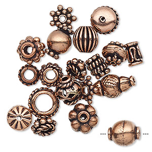 bead, antiqued copper, 4x1mm-11x5mm assorted shape. sold per pkg of 20.