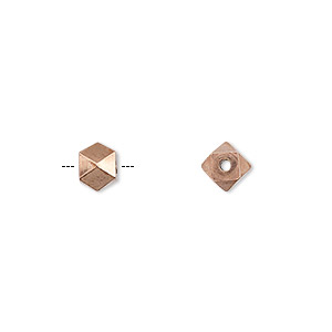 bead, antiqued copper, 5mm faceted square. sold per pkg of 20.