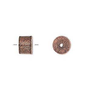 bead, antiqued copper, 9x6mm brushed heishi. sold per pkg of 10.