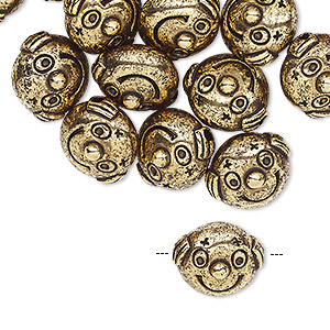 bead, antiqued gold-coated acrylic, 13x12mm face. sold per pkg of 24.